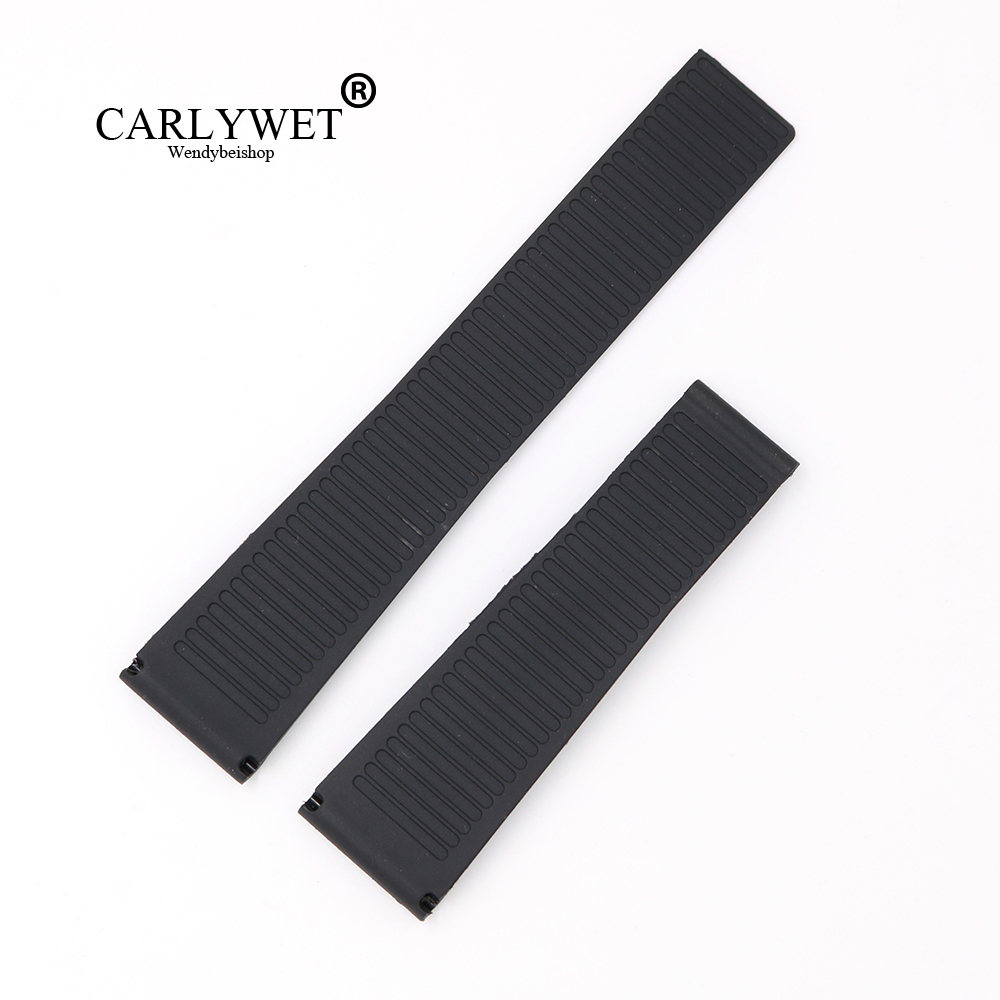 CARLYWET 22mm Wholesale New Black Waterproof Silicone Rubber Replacement Wrist Watch Band Strap Without Buckle For Tag CARRERA chang sheng cs fwc rubber foam power strengthener wrist forearm exerciser gym black
