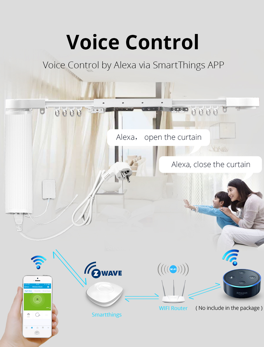 Zemismart Smartthings Control Z-wave Motorize Curtain With Track Customized  Smart Curtains