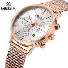 MEGIR montre avec chronographe, Top marque de luxe, horloge en maille pour femmes, classique en acier, à robe, horloge daffaires