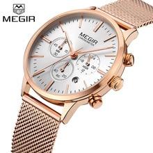 MEGIR reloj con cronógrafo para mujer, relojes femeninos de malla de acero, clásicos, de negocios
