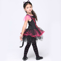 Girls Cat Costumes Sequined Tutu Dress With Ear Headband Carnival Party Fancy Costume Ballet Stage Performance