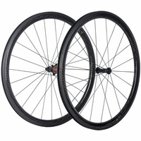 100 Full Carbon Fibre 38mm Carbon Clincher Wheelset Road Bike 25mm Width With Chosen 1586 7187