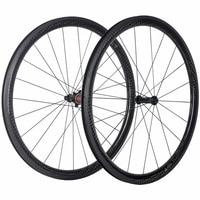 100 Full Carbon Fibre 38mm Carbon Clincher Wheelset Road Bike 25mm Width With Chosen 1586 7187