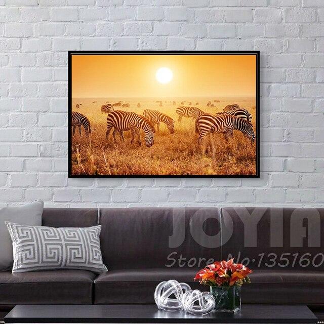 Wohnkultur Wandmalerei Afrikanische Grasland Sonnenuntergang Zebras Malerei  Kern Moderne Wohnzimmer Schlafzimmer Wandbild Kunst Kein Rahmen
