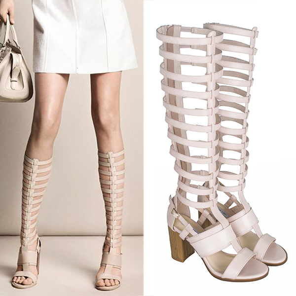 Beige black gladiator women sandals cross strap celebrity summer ...