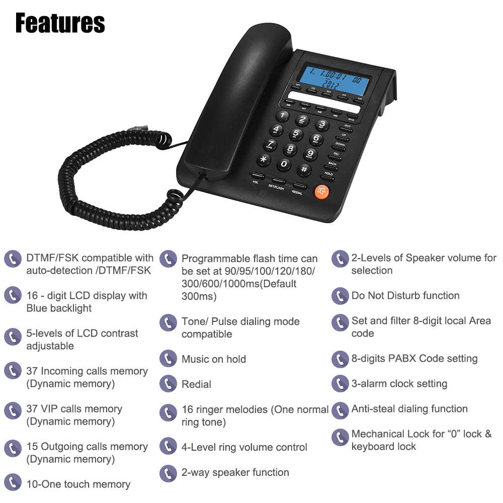 medium resolution of  telefon telephone home phone landline phone lcd display handphone for house home call center office company
