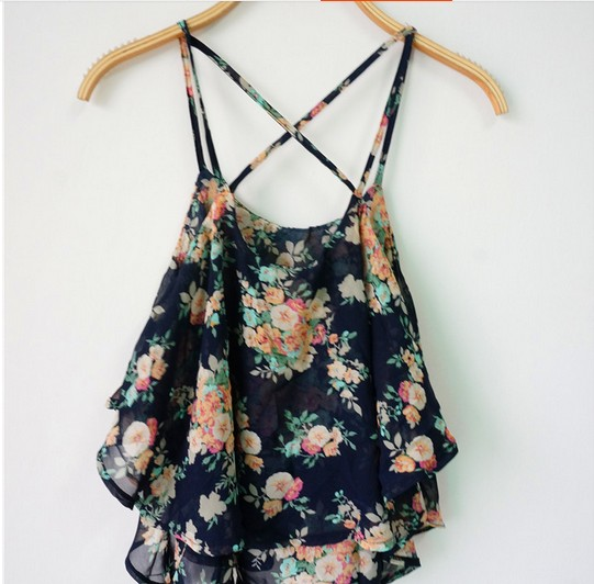 4e2cad60a4e Hot Women t shirt New Summer Sleeveless Shirts Girl Spaghetti Strap Sexy  Floral Print Chiffon Blouse Vest Crop Tank Tops-in Camis from Women s  Clothing on ...