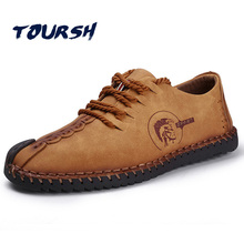 TOURSH Chaussures Hommes En Cuir Décontractée Chaussures Hommes Appartements Chaussures En Cuir Chaussure Casual Mens De Luxe Mode Handmad Chaussures Bout Rond Brun