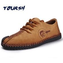 TOURSH Schuhe Männer Beiläufige Lederne Schuhe Männer Wohnungen Schuhe Leder Chaussure Casual Mens Luxusmode Handmad Schuhe Runde Kappe Braun