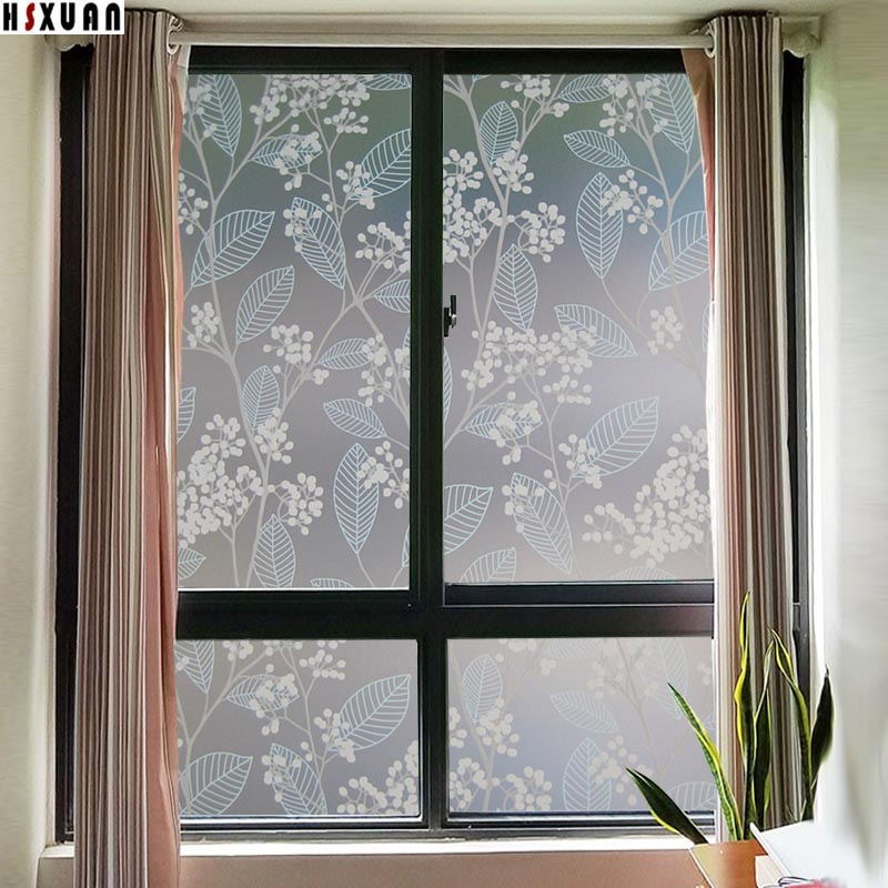 decorative window film sunscreen 45x100cm waterproof frosted flower self adhesive glass static window sticker hsxuan brand450305 - Decorative Window Film
