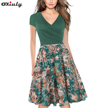 Oxiuly Ladies Green Patchwork Floral Print Ruffle V Neck Short Sleeve Knee Length Casual A-Line Bodycon Dresses Vestidos