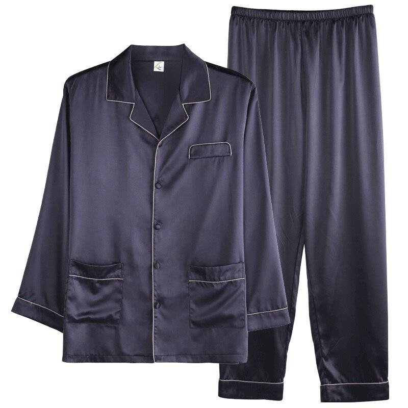 2019 Luxury Men's Summer Silk Simple Pajama Sets Satin Cardigan Sleepwear Pajamas Male Sleepwear Home Pijama Hombre Loungewear