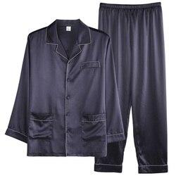 2019 luxus Männer Sommer Silk Einfache Pyjama Sets Satin Strickjacke Nachtwäsche Pyjamas Männlichen Nachtwäsche Hause Pijama Hombre Loungewear