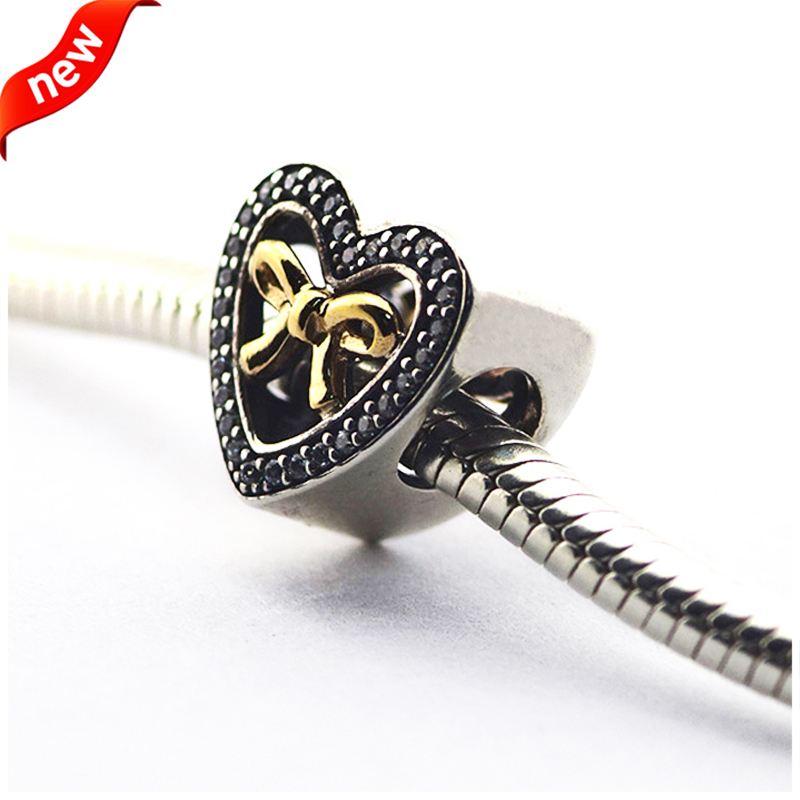 Fits for Pandora Bracelets Bound By Love Charms with 14K Gold Plated 100% 925 Sterling S ...