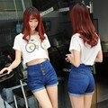 S-4XL gran tamaño nuevas mujeres de la manera pantalones cortos de cintura alta flacos del dril de algodón Coreano botón casual jeans shorts más el tamaño femenino