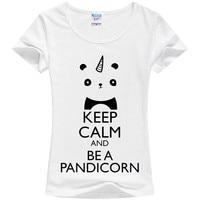 Однорогий панда печать футболка девушка Единорог Милая Футболка Keep Calm and Be A pandicorn Прямая продажа с фабрики могут быть выполнены по индивидуа...