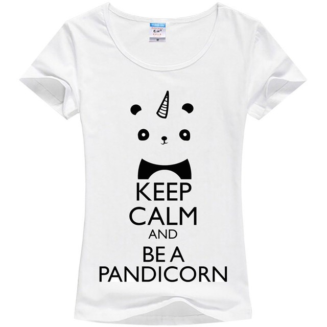 9a26d132 One-horned panda printing T-shirt girl unicorn cute T-shirt KEEP CALM AND  BE A PANDICORN Factory direct sale can be customized