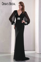 Real Photos Black V Neck Sheath Evening Dresses with Long Sheer Sleeves Beaded Pleats Sweep Train Prom Gowns