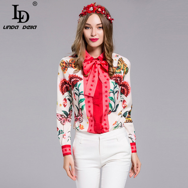 Plus size Blouse Long sleeve Bow collar Charming Floral Print Shirt Casual Top