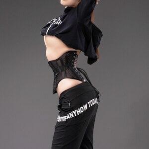 Image 4 - Annzley corsé de malla para adelgazar, corsé transpirable con cremallera lateral, corsé deshuesado corto de acero para cintura, 2018