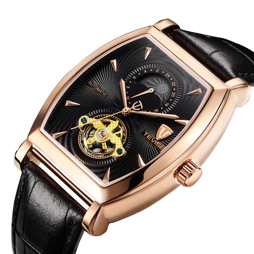 TEVISE Waterproof Automatic 8383D Mechanical Men Watches Moon Phase Genuine Watch Leather Self-Winding Man Casual Wristwatch