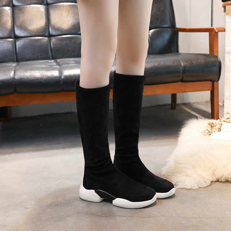 Stretch socks in the tube sports boots 2018 autumn and winter new Korean version of the wild long boots women thin boots tide 2015 autumn shiny piece fight color stretch fabric square head women s boots flat boots in europe and america tide personality