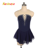 Nasinaya Blue Figure Skating Dress Ice Skating Skirt Spandex Women's girl's