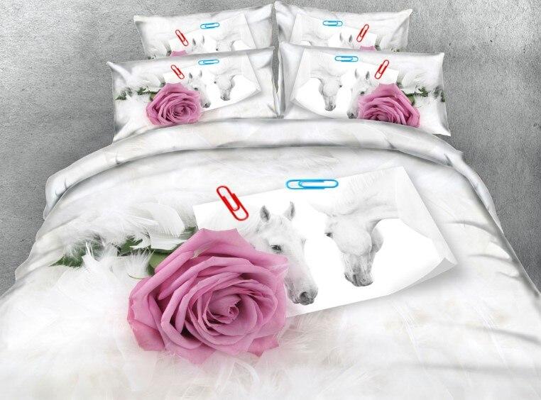 Фиолетовый Комплект постельного белья с розой роскошное покрывало пододеяльник простыни розы цветок ЛОШАДЬ перо Король Королева Размер По