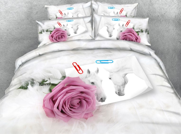 Purple Rose Bedding Set Luxury Comforter Duvet  Cover Bed Sheet Sheets Roses Flower Horse Feather King Queen Size Full Twin 5PCS