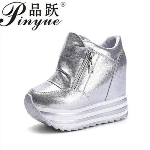 2018 модная женская повседневная обувь Женская обувь увеличивает Женская обувь сети Клин самолет Обувь черный 12 см на платформе