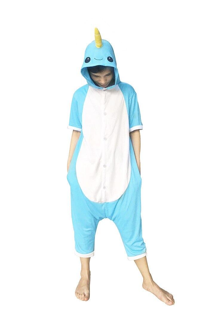 Animal Onesie Cosplay Costume Unisex Adult Kids Blue Narwhal Pajamas Jumpsuit Child Short Sleeves Summer