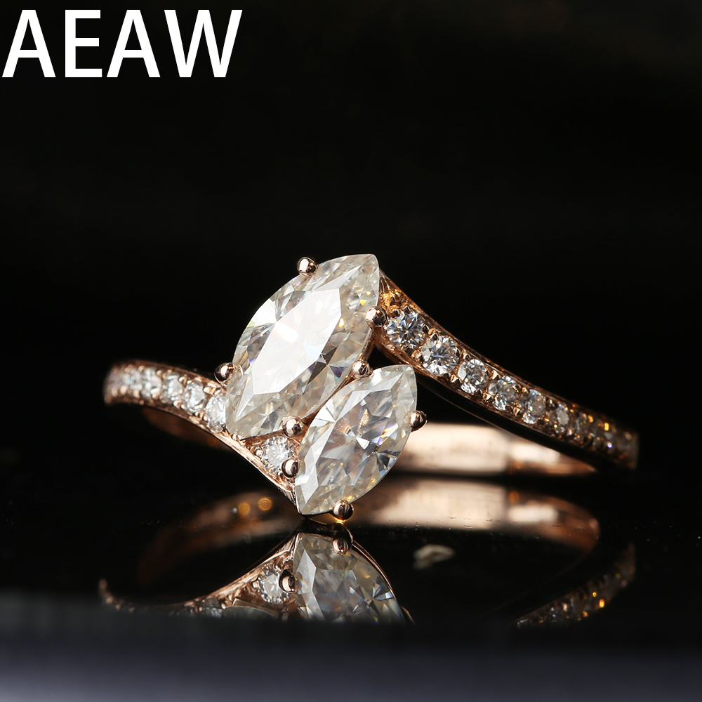 Solid 18K Rose Gold 1ctw Marquise Cut Moissanite Engagement Ring Bridal Wedding Jewelry Dainty Female Finger Ring