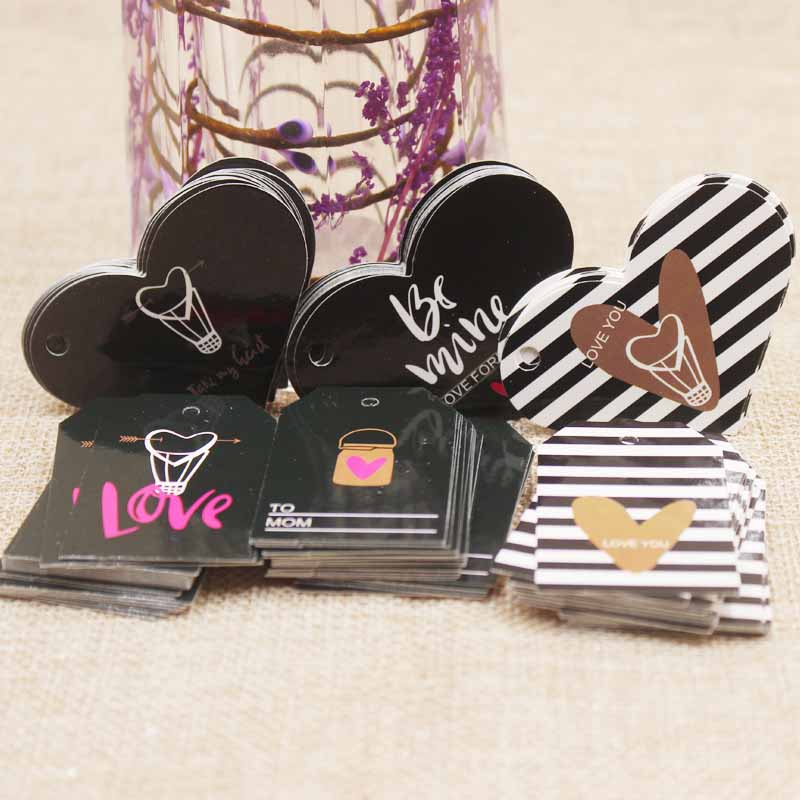 Zerong Jewelry Black Paper Married Wedding Card Tag Heart Shape Design Gift Tag Card Products Wrapping Supplies Candy Tag 200pcs