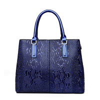 ARMELLE 2017 Fashion Top Handle Bags Serpentine Tote Bags For Women Red Patent Leather Handbag Ladies