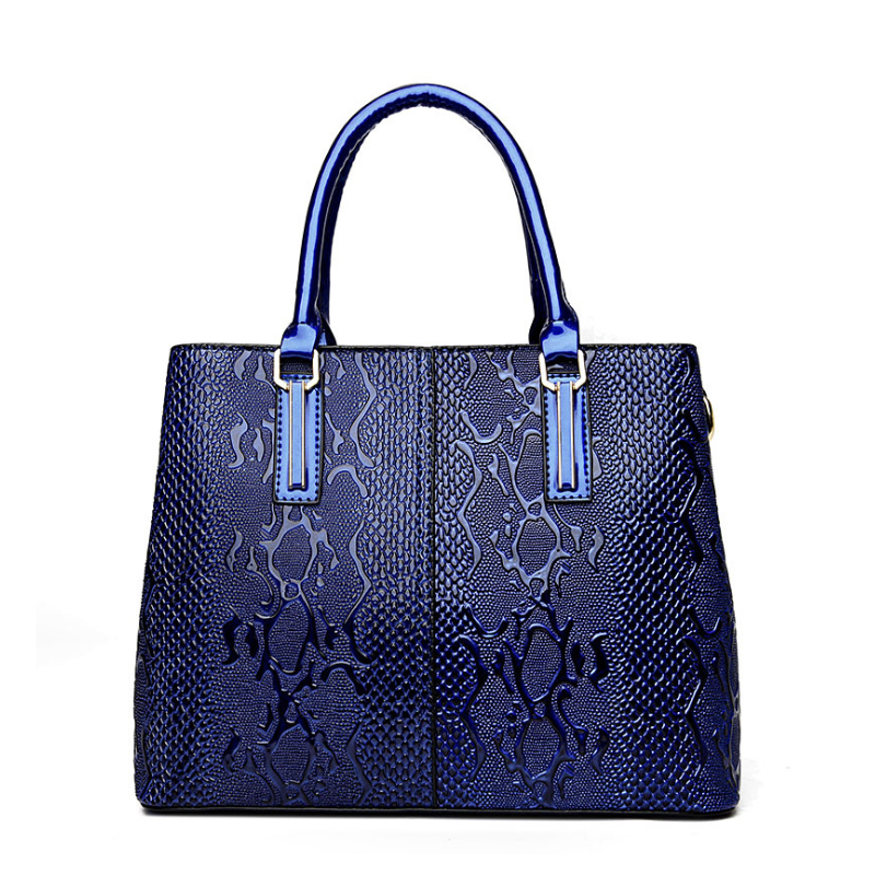 Luxury Top-Handle Bags for Women 2017 Female Patent Leather Tote Bag Ladies Python Serpentine Snake Handbag Blue Red Brown B095 patent leather handbag shoulder bag for women