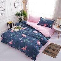 Adult Double Bed Cover Polyester/Cotton Flamingos Comforter Duvet Cover Set Bed Linen Sets Bedclothes King Bedding Set for Kids