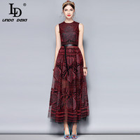 LD LINDA DELLA 2018 New Fashion Designer Summer Dress Women's Sleeveless Gorgeous Vintage Mesh Embroidery Maxi Long Party Dress