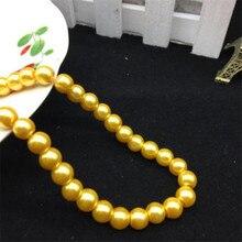 Свободные 3 мм-10 мм желтый цвет Искусственный жемчуг ручная работа «сделай сам» круглая стеклянная имитация жемчуга бусины одежда и украшение для ногтей