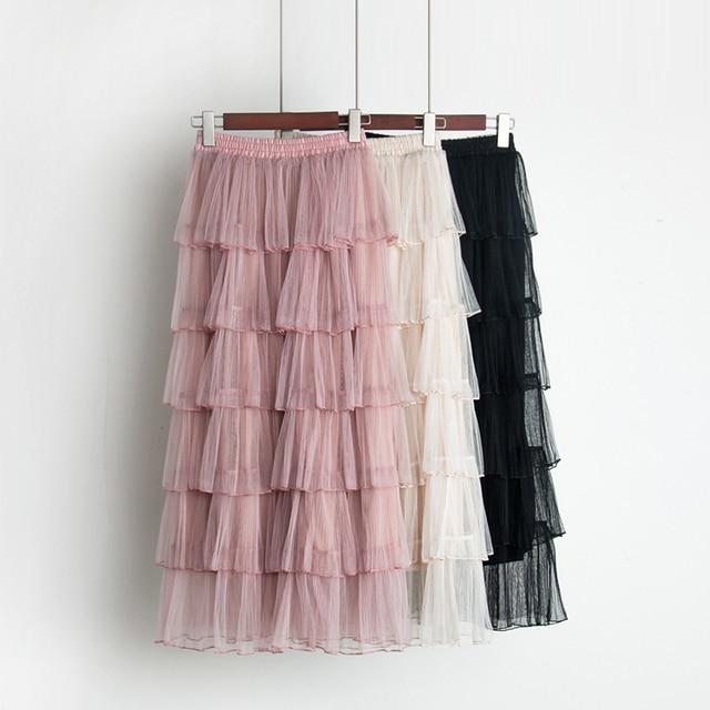 2018 spring new female Net yarn 6-layer cake skirt women's high waist lotus skirts chrimas