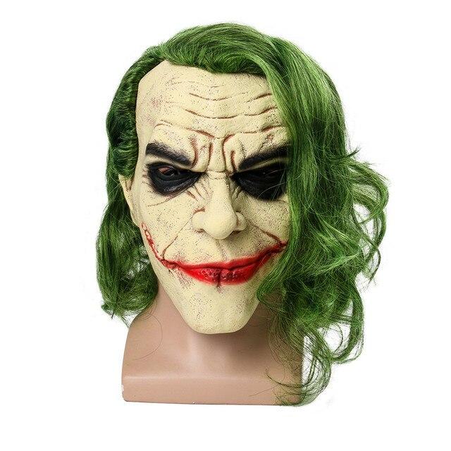 ba9906ac9ed5 Movie Batman The Dark Knight Cosplay Horror Scary Clown Mask Joker Mask  with Green Hair Wig Halloween Latex Mask Party Costume