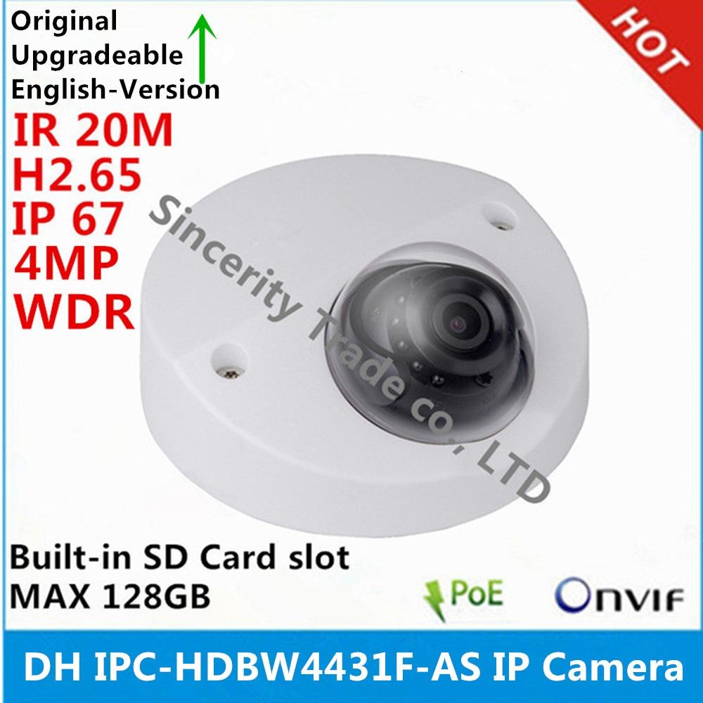 original DH english version IPC HDBW4431F AS IP Camera 4MP IK10 IR20m IP67 built in MIC