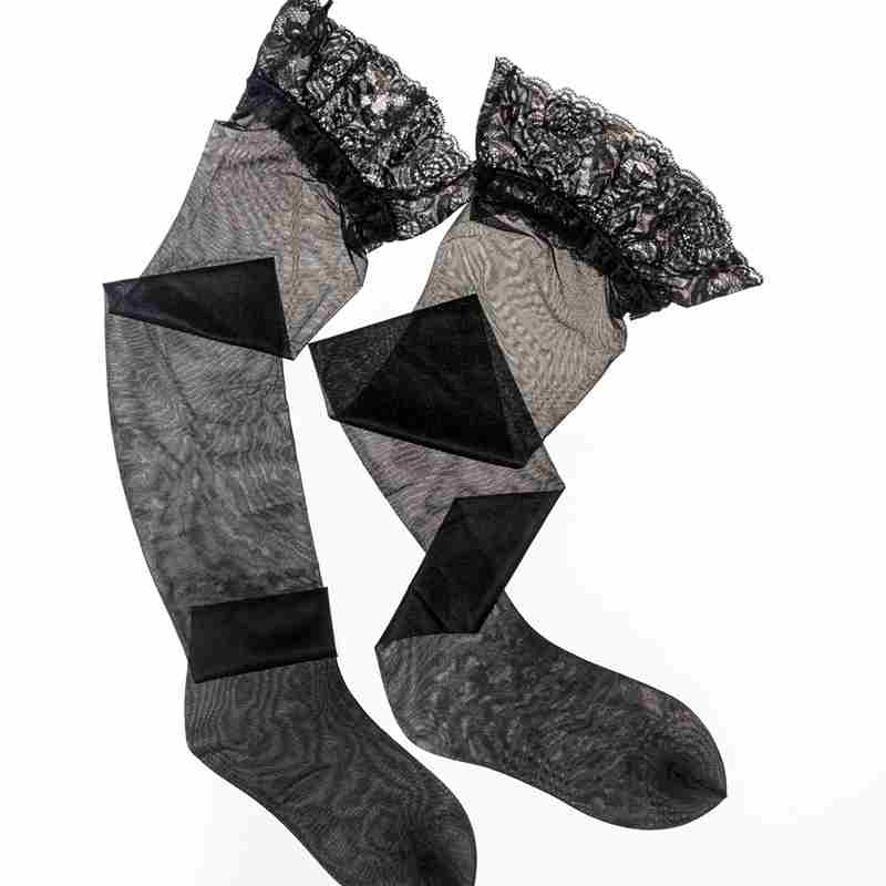 15D Womens Silicone Stay Up High Socks ,8.5CM Lace Top Knee High Socks,Pantyhose Overal Medias Lingerie