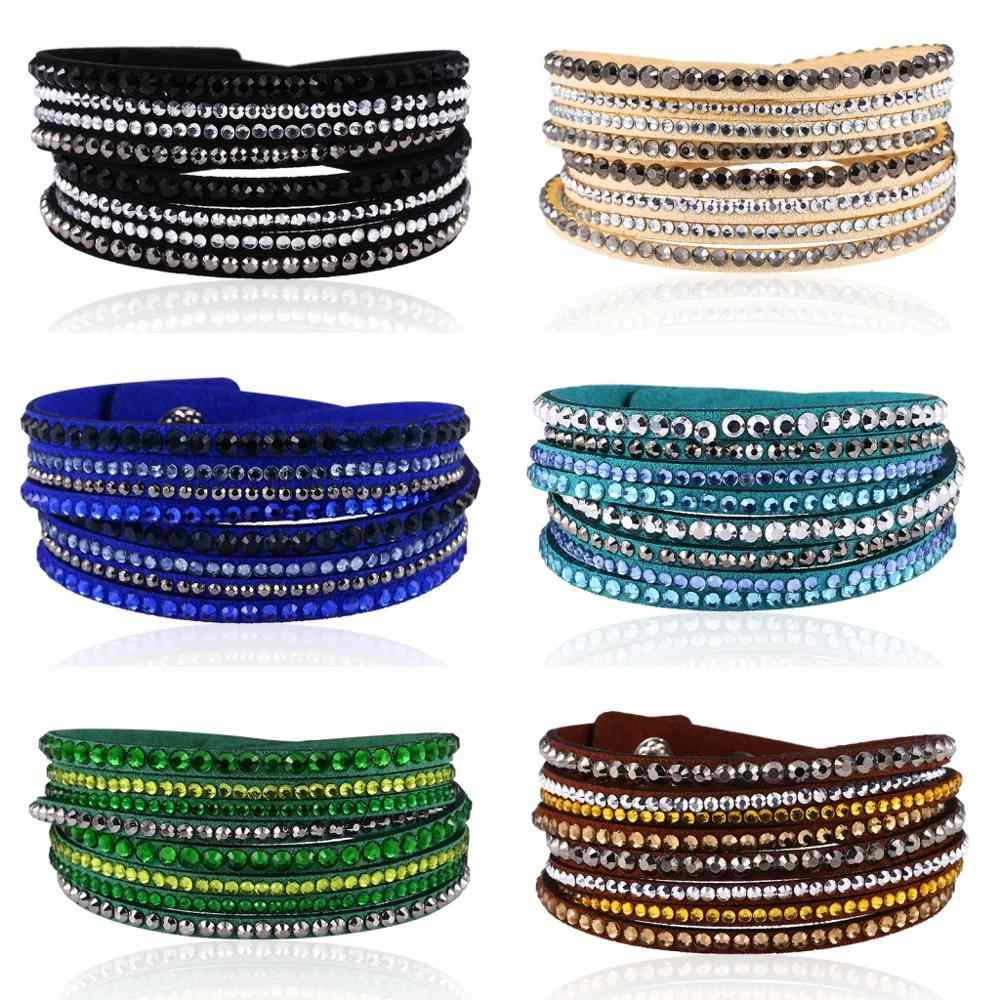 HOCOLE Vintage Leather Wrap Multilayer Bracelets For Women Fashion Crystal Rhinestone Bracelet Female Party Gift Charm Jewelry