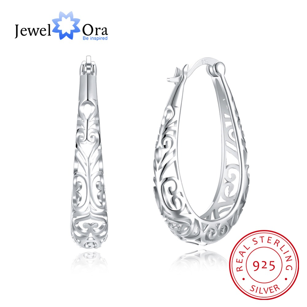 Fashion Jewelry 925 Silver Hoop Earrings For Women 2018 Vintage Gold Earrings Vintage Gift New Arrival(Jewelora EA102977) silver vintage flower pattern plain round hoop earrings