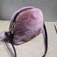 REAL FUR Women Shell Messenger Bags Lamb Wool Shoulder Bags Handbag Small Cross Body Bags Match