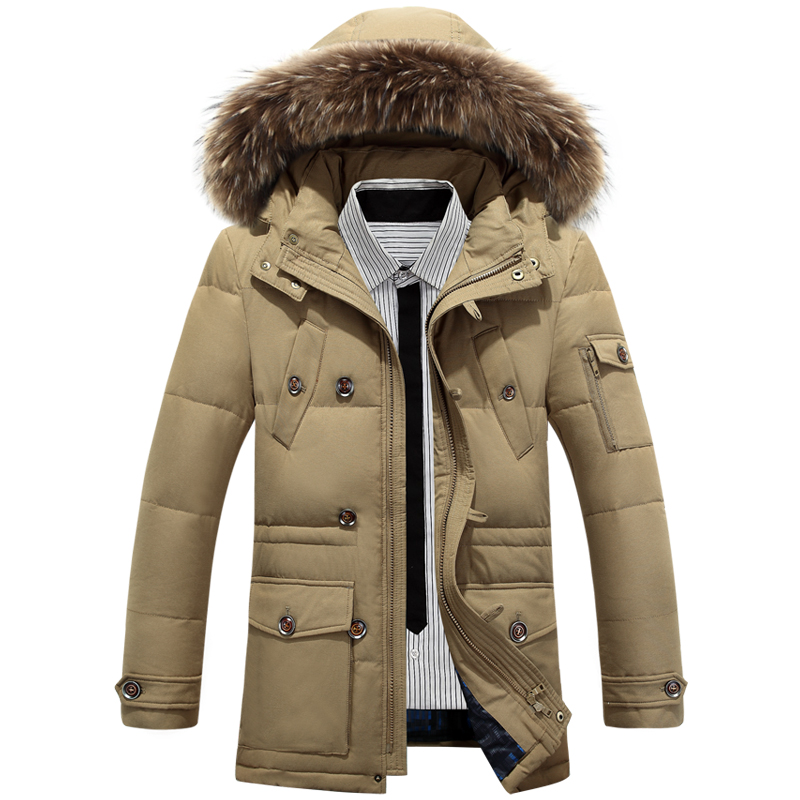 Men White Duck Down Jacket Thick Warm Parka Boutique Fashion Fur Collar Solid Color Casual Long Section Coat With Pockets 2598 s xl thick warm long women winter coat 2016 fashion down coat with hoodies long sleeve white parka solid color