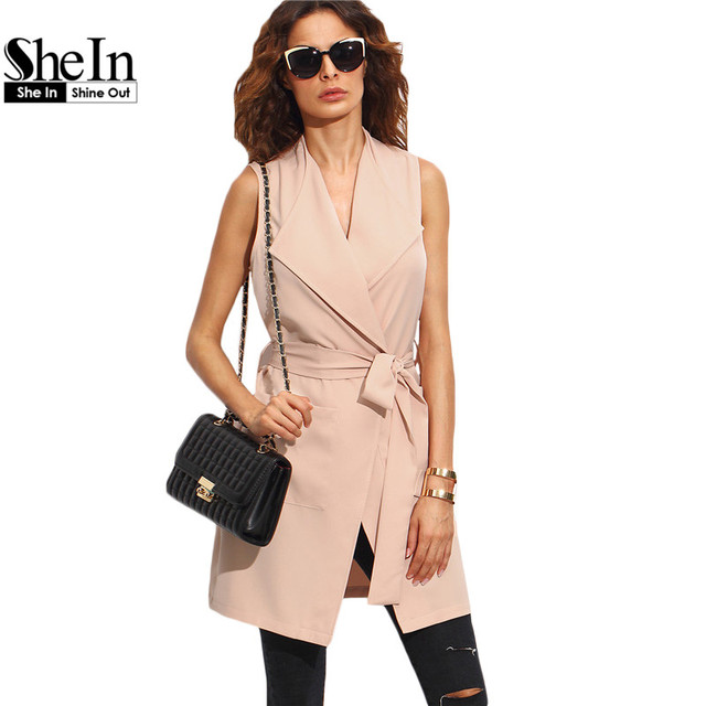 SheIn Womens Work Wear Outerwear Coats Autumn Ladies Fashion Plain Pink Sleeveless Lapel Bow Tie Waist Long Outerwear
