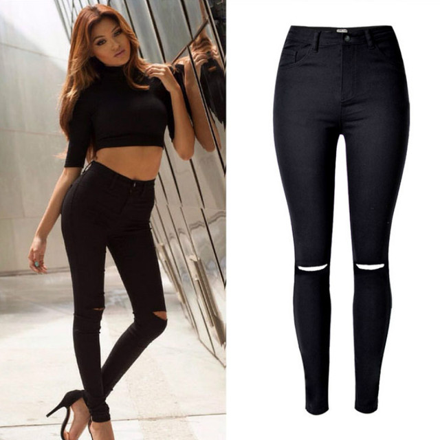 2019 High Waist Black Jeans Women Fashion Hole Hollow Out Europe