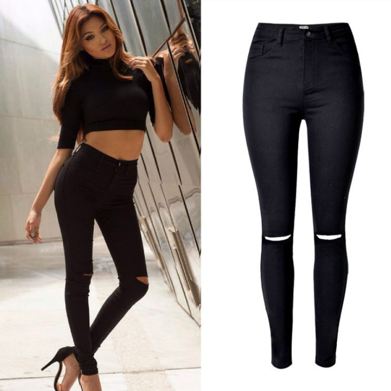 2019 High Waist Black   Jeans   Women Fashion Hole Hollow Out Europe high street Skinny   Jeans   Mujer 90s Xs Push Up Pantalon Femme