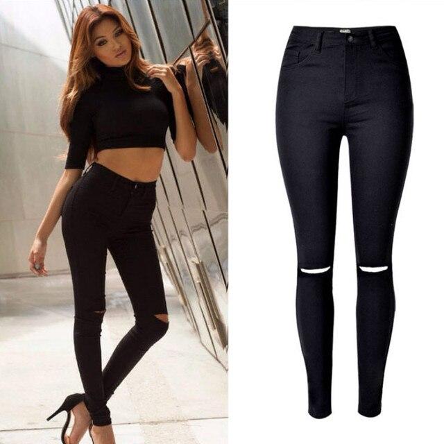 2019 Taille Haute Noir Jeans Femmes Mode Trou Évider L\u0027europe high street  Skinny Jeans